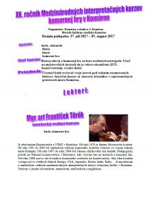 XX. ročník Medzinárodných interpretačných kurzov komornej hry v Komárne